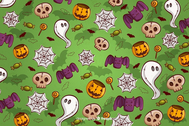 Hand drawn halloween background seamless pattern in green