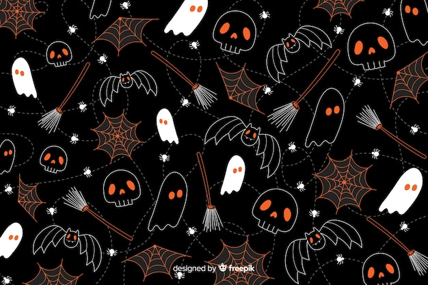 Hand drawn halloween background seamless pattern texture
