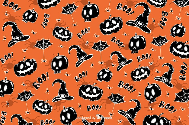Hand drawn halloween background seamless pattern