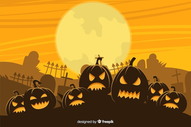 Hand drawn halloween background with army of pumpkins