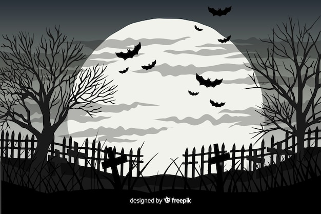 Hand drawn halloween background with bats and a full moon