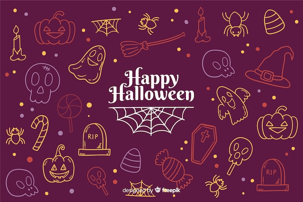 Hand drawn halloween background with doodles