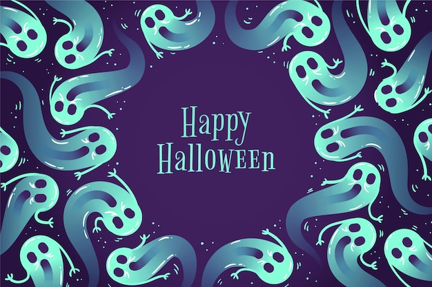 Hand drawn halloween background with ghosts