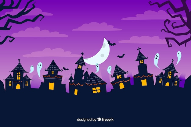 Hand drawn halloween background with haunted houses