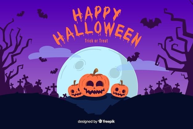 Hand drawn halloween background with pumpkins in cemetery