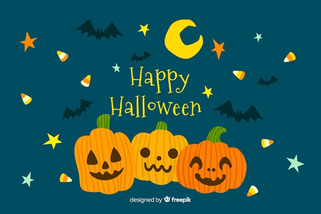 Hand drawn halloween background with pumpkins