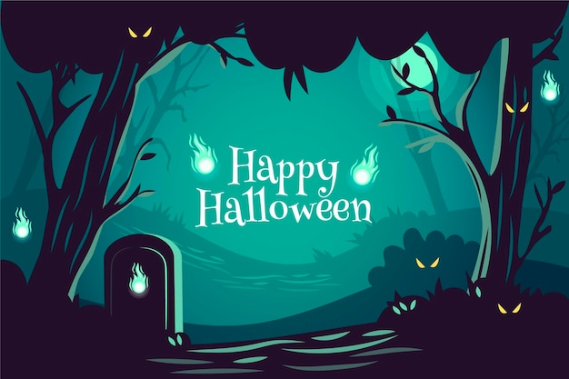 Hand drawn halloween background with spooky elements