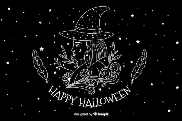 Hand drawn halloween background with starry night