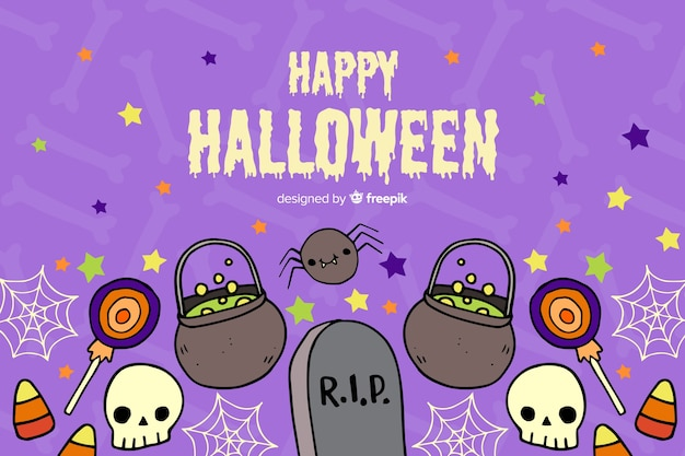 Hand drawn halloween background with tombstones