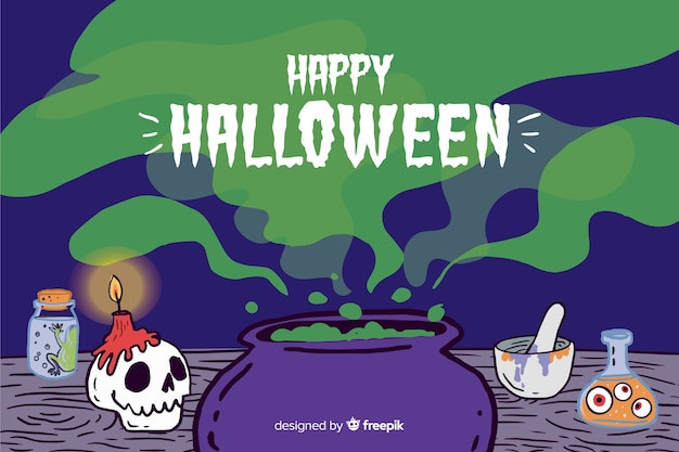 Hand drawn halloween background with toxic green steam