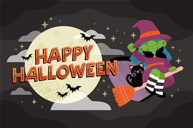Hand drawn halloween background with witch