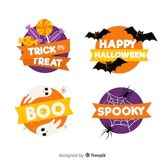 Hand drawn halloween badge collection