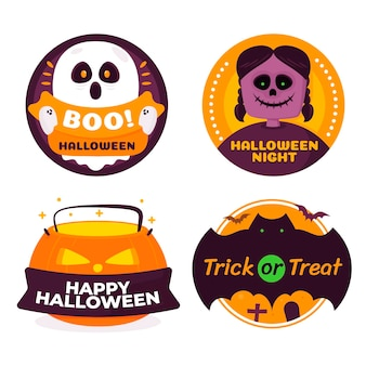Hand drawn halloween badges collection