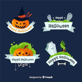 Hand drawn halloween badges pack