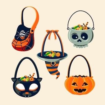 Collezione di borse di halloween disegnata a mano