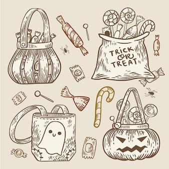 Нарисованная рукой концепция сумки хэллоуина