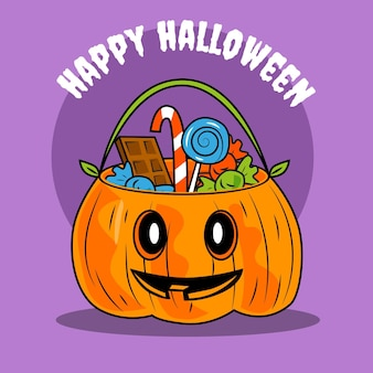 Hand drawn halloween bag illustration