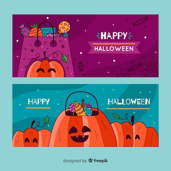 Hand drawn halloween banner template