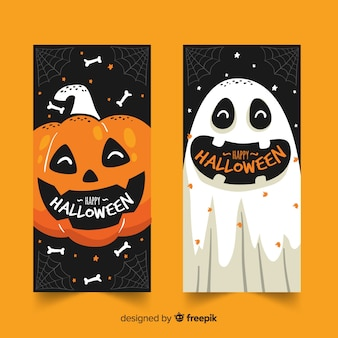 Hand drawn halloween banners pumpkin and ghost
