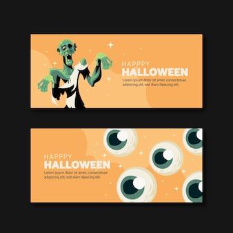 Set di banner di halloween disegnati a mano