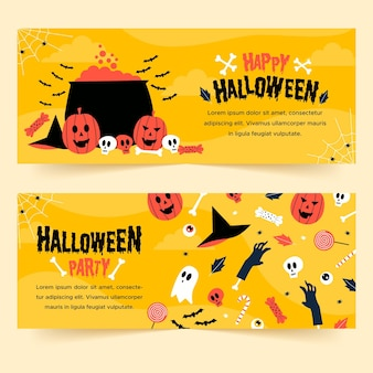Hand drawn halloween banners template