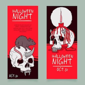 Hand drawn halloween banners template