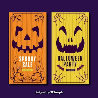 Hand drawn halloween banners with pumpkins
