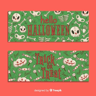 Hand drawn halloween banners with seamless pattern design