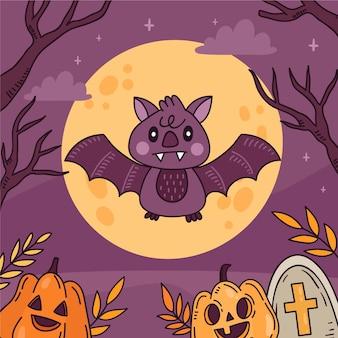 Hand drawn halloween bat illustration