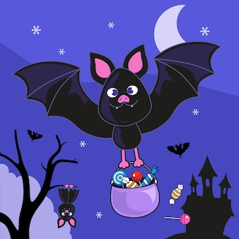 Illustrazione disegnata a mano del pipistrello di halloween