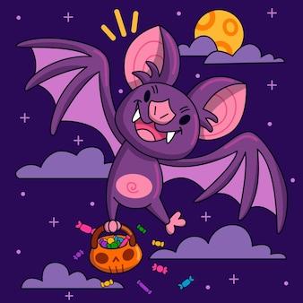 Hand drawn halloween bat