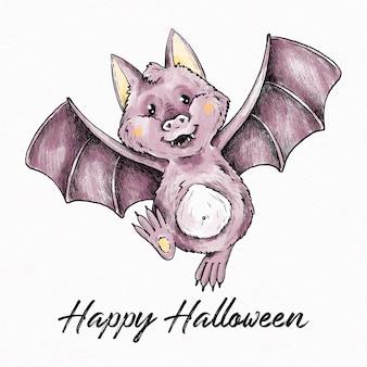 손으로 그린 할로윈 박쥐