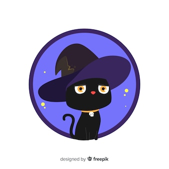 Hand drawn halloween black cat