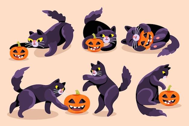 손으로 그린 할로윈 검은 고양이 컬렉션