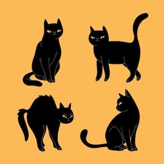Коллекция рисованной хэллоуин черных кошек