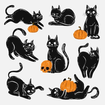 Hand drawn halloween black cats collection