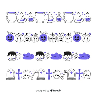 Hand drawn halloween border collection in purple shades