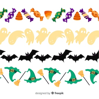 Hand drawn halloween border collection on white background