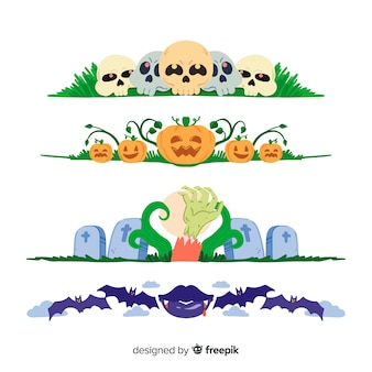 Hand drawn halloween border collection on white surface