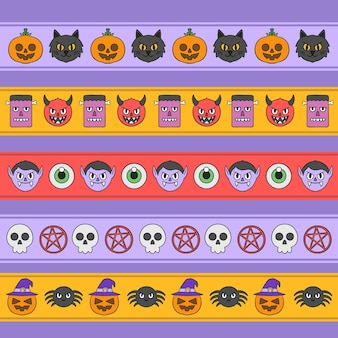 Hand drawn halloween border collection