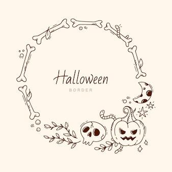 Hand drawn halloween border template