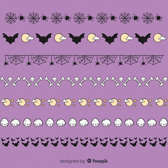 Hand drawn halloween border with cobwebs and bones