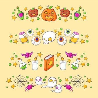 Hand drawn halloween borders collection