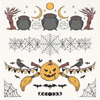 Collezione di bordi di halloween disegnati a mano