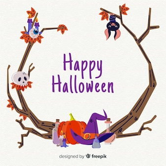 Hand drawn halloween branches frame