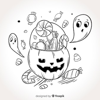 Hand drawn halloween candy bag background