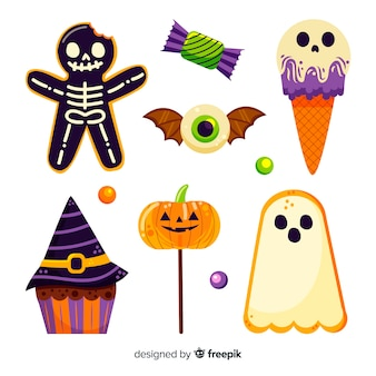 Hand drawn halloween candy collection on white background