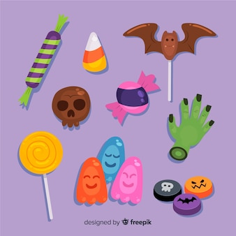Hand drawn halloween candy collection