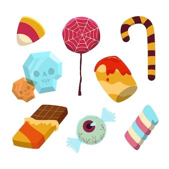 손으로 그린 할로윈 사탕 컬렉션