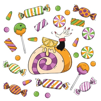 Коллекция рисованной конфет хэллоуин Бесплатные векторы